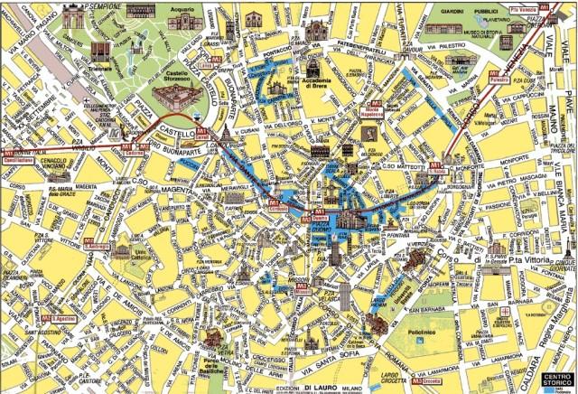 Mapa do centro de Milão