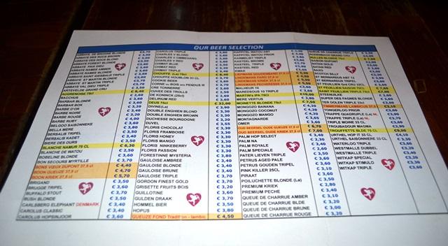 Menu de cerveja em Bruxelas