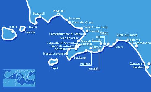 Mapa da Costa Amalfitana